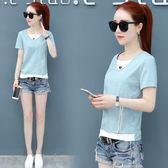 【Bbay】T恤夏裝韓版修身V領假兩件短袖t恤女百搭女裝打底衫半袖上衣t恤