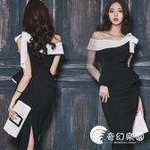 洋裝-性感連身裙2019新款職業女裝一字領露肩蝴蝶結修身開叉包臀裙-奇幻樂園