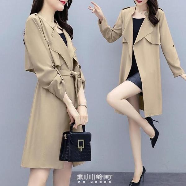 風衣女中長薄款英倫風2020夏春新款韓版氣質百搭春秋時尚流行外套 快速出貨