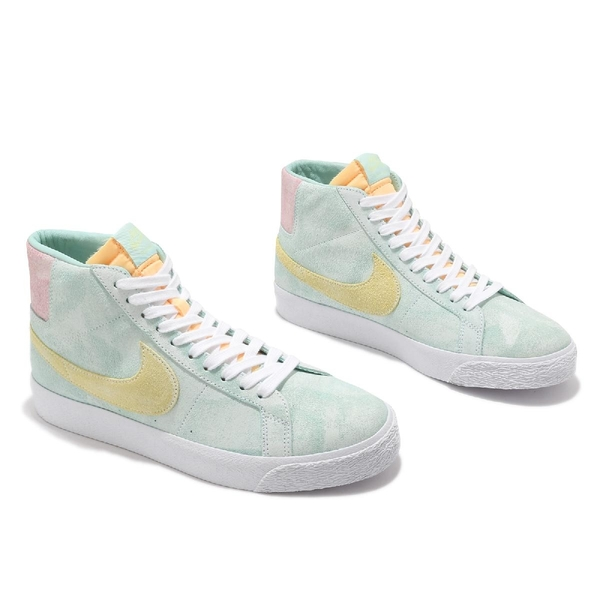 Nike 滑板鞋 SB Zoom Blazer MID PRM 綠 黃 粉紅 男鞋 麂皮 仿舊設計 中筒 休閒鞋 【ACS】 DA1839-300
