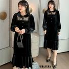 (現貨+預購 FUWAFUWA)--加大尺碼小性感絲絨魚尾裙長袖洋裝小禮服