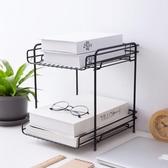居家家 雙層鐵藝收納架桌面儲物架收納筐 辦公室簡易置物架分層架