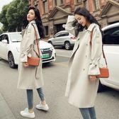 風衣女中長款韓版秋季2018新款時尚氣質寬鬆顯瘦學生休閒百搭外套『潮流世家』