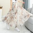 半身裙 夏季新款雪紡碎花色百搭小清新a字高腰顯瘦大擺長裙到腳踝 韓語空間