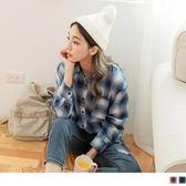 《AB8152-》配色格紋簡約襯衫/罩衫 OB嚴選
