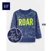 Gap男嬰幼童 妙趣圖案刷毛圓領長袖運動衫 371597-鈷藍