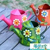 灑水壺澆花家用彩色澆水壺復古鐵皮澆花澆水噴灑壺超級品牌【海闊天空】