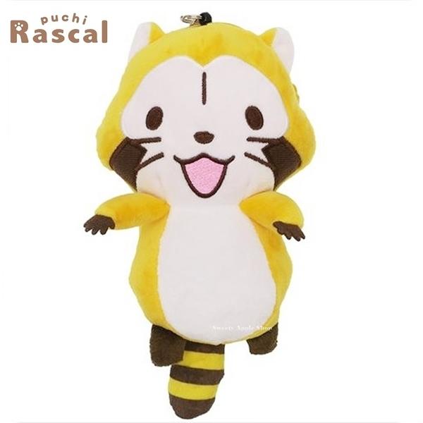 日本限定 RASCAL 小浣熊 玩偶 有聲 伸縮票卡零錢夾