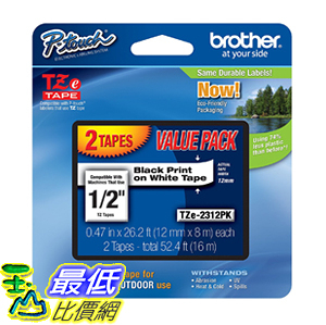 [106美國直購] 膠帶 Brother TZE2312PK 1/2-inch Standard Laminated P-Touch Tape, Black on White 26.2 Feet (2-Pack)