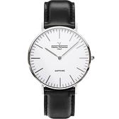 VALENTINO 范倫鐵諾 經典皮革手錶-40mm 71418M白面鋼色黑帶