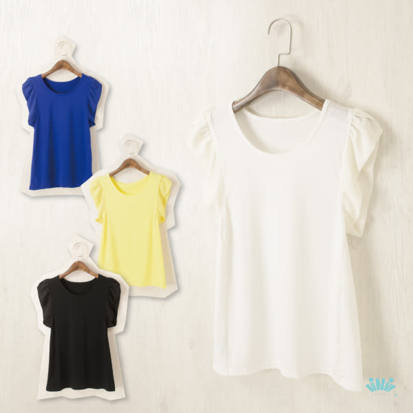 viNvi Lady 雪紡袖片拼接舒柔短袖T恤 短袖上衣