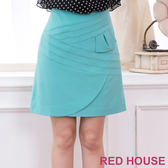 【RED HOUSE-蕾赫斯】不規則條紋剪裁短裙(藍綠色)