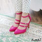 amai輕甜龐克繫帶尖頭繞踝高跟鞋 桃