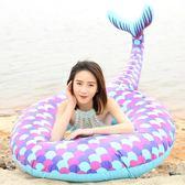游泳圈 - 美人魚游泳圈充氣美人魚浮排加厚PVC美人魚游泳圈【韓衣舍】