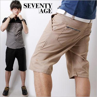 ∥柒零年代∥Advancer【N7450J】韓系都會雅痞風格條紋袋口素面合身休閒短褲(JK0492)