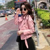 皮衣女短款新款正韓學生百搭機車PU皮夾克黑色小外套 享購