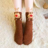 地板襪 睡覺襪子女睡眠襪圣誕地板襪成人加厚加絨硅膠防滑中筒襪韓國冬季 童趣屋