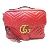 GUCCI 古馳 紅色牛皮手提斜背兩用包GG Marmont Small Shoulder Bag【BRAND OFF】