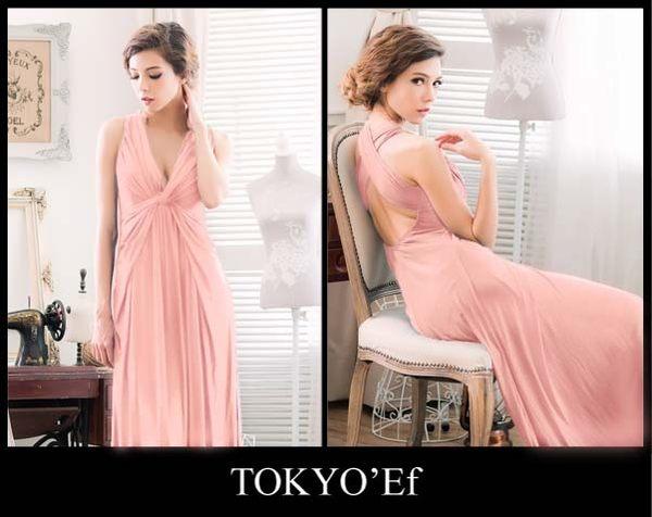 東京衣服 英倫情懷 深V抓皺扭結 女神輪廓 美背交叉長禮服 粉橘