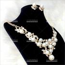 珍珠花漾   新娘項鍊套組-耳環(耳針式)[57420]尾牙舞台宴會飾品