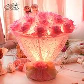 結婚台燈婚房床頭燈粉紅色創意新婚禮物婚慶浪漫玫瑰花燈長明燈jy 快速出貨全館免運