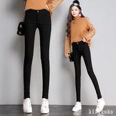 中大尺碼鉛筆褲 3XL黑色女外穿2018夏新款薄款高腰修身百搭小腳打底褲  XY6646【KIKIKOKO】