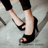魚口高跟鞋/單鞋女夏季新款職業工作黑色韓版粗跟百搭大碼涼鞋女鞋