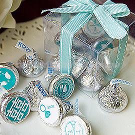 婚禮小物 - KISSES水滴巧克力(8顆入)小禮盒(Tiffany色緞帶)- 迎賓/送客/二進 幸福朵朵(100盒以下的賣場)