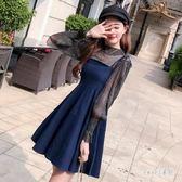 牛仔洋裝 牛仔吊帶洋裝秋裝女新款小香風洋氣小個子港味A字裙兩件套 ZJ3946【Sweet家居】