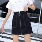 (快出)2020春夏新款短裙女韓版a字裙半身裙高腰顯瘦拉鍊大碼學生包臀裙