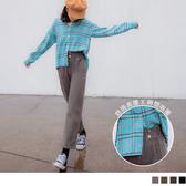《BA5257》收腹寬版腰頭裝飾釦造型休閒直筒長褲 OrangeBear