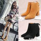 靴子 靴子女短靴ins馬丁靴女短筒高跟粗...