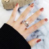 創意個性網紅日韓珍珠開口可調節戒指女潮人食指簡約中指學生指環