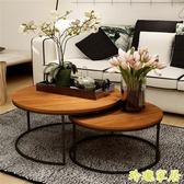 美式復古鐵藝實木茶幾桌幾何時尚創意大小戶型圓形茶幾茶桌【快速出貨】
