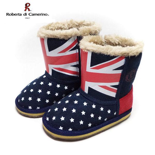 童靴 義大利諾貝達Roberta 英國國旗滿版星星 毛毛保暖雪靴 深藍14-19號 ~EMMA商城