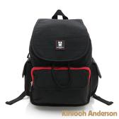 金安德森 極簡耀色 質感休閒抽繩後背包-低調黑紅