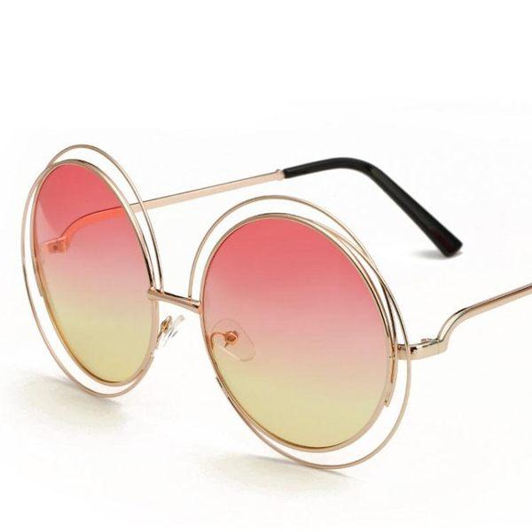 太陽鏡圓框復古墨鏡 海洋片太陽眼鏡金屬眼鏡【多多鞋包店】y05