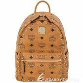MCM Visetos Stark 迷你款 鉚釘經典塗層帆布後背包(棕色) 1920220-B3