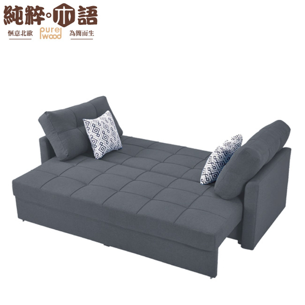 【純粹木語】貝多 北歐風棉麻布L型可收納沙發/沙發床組合(展開&拉合式+三人座+椅凳+兩色)