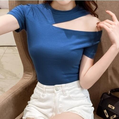 上衣簡約韓版S-2XL側邊開口性感露鎖骨短款T卹1F041A-9092.1號公館