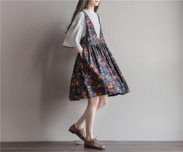 東京奈奈日系背心連身裙印花甜美無袖洋裝[j26901]