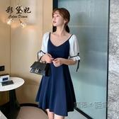 洋裝 法式高腰洋裝女2020新款修身顯瘦 氣質短袖裙子時尚小個子A字裙 魔法鞋櫃