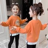 女童上衣女童加厚衛衣2021 年春裝  假兩件洋氣中大童兒童上衣~ 出貨八折 ~