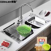 水槽304不銹鋼廚房水槽雙槽 一體成型加厚手工洗碗池洗菜盆套餐  走心小賣場igo