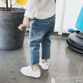 牛仔褲 童裝女童春裝韓版純色牛仔褲洋氣長褲兒童修身小腳褲潮 寶貝計畫