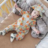 嬰兒保暖連體衣秋冬套裝女0一1歲衣服女外出抱衣潮服哈衣 zm10274【每日三C】