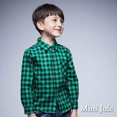 《Mini Jule 童裝》襯衫 格紋單口袋棉質長袖襯衫(綠)