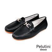 【Pelutini】donna金屬扣飾時尚樂福鞋 黑色(8369W-BL)