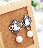 名媛氣質奢華閃耀珍珠防敏鋼針耳環