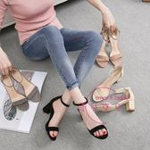 夏季新款粗跟涼鞋女百塔大尺碼高跟鞋中跟露趾正韓一字扣帶涼鞋